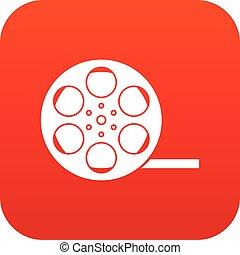 アイコン, フィルム, 赤, デジタル