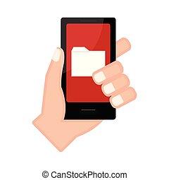 アイコン, フォルダー, smartphone, 手を持つ