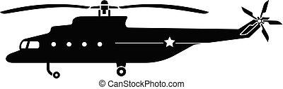 アイコン, ヘリコプター, スタイル, 単純である, 軍隊