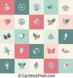 アイコン, ヘルスケア, セット, 美しさ