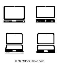 アイコン, ベクトル, セット, コンピュータ