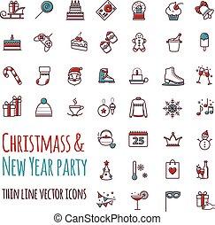 アイコン, ベクトル, セット, -, 冬, クリスマス, 休日, パーティー, birthday