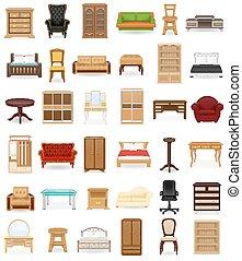アイコン, ベクトル, セット, 家具