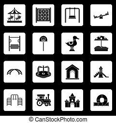 アイコン, ベクトル, セット, 正方形, 運動場