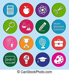 アイコン, ベクトル, セット, collection:, 教育