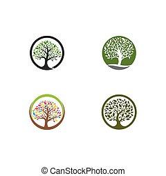 アイコン, ベクトル, テンプレート, 木, ロゴ, セット