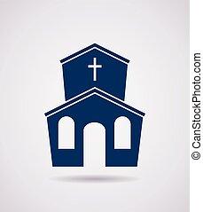 アイコン, ベクトル, 教会, 建物