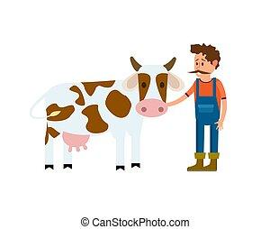 アイコン, ベクトル, 隔離された, 牛, 農夫