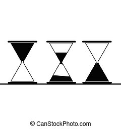 アイコン, ベクトル, 黒, イラスト, 砂時計