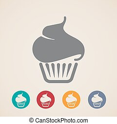 アイコン, ベクトル, cupcake