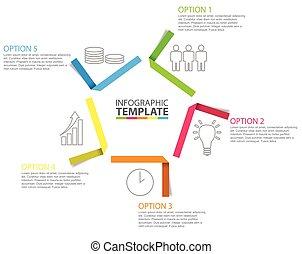アイコン, ペーパー, ステップ, infographic, 5, テンプレート