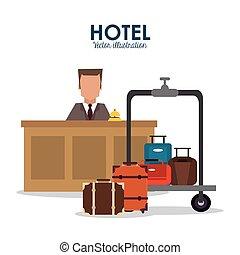 アイコン, ホテル, ベクトル, ボーイ, サービス