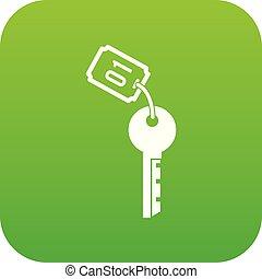 アイコン, ホテル, 緑のキー, デジタル