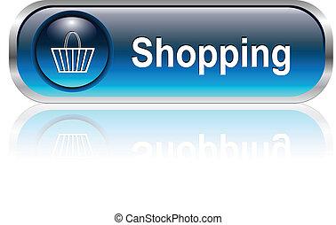 アイコン, ボタン, 買い物カート