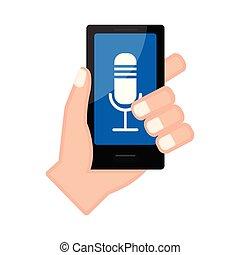アイコン, マイクロフォン, smartphone, 手を持つ