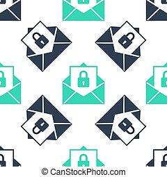 アイコン, メール, 隔離された, バックグラウンド。, 封筒, ロックされた, 郵便物, 安全である, padlock., 緑の白, パターン, ベクトル, seamless
