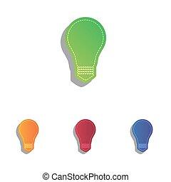 アイコン, ライト, 印。, colorfull, ランプ, アップリケ, set.