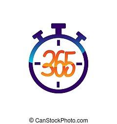 アイコン, ロゴ, デザイン, 無限点, イラスト, ストップウォッチ, 365, ベクトル