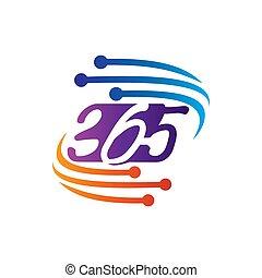アイコン, ロゴ, デザイン, 無限点, イラスト, 365, ベクトル, 技術