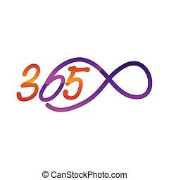 アイコン, ロゴ, デザイン, 無限点, イラスト, 365, ベクトル, 永遠