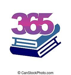 アイコン, ロゴ, デザイン, 無限点, イラスト, 365, 山, ベクトル, 本