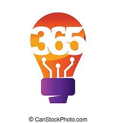 アイコン, ロゴ, デザイン, 考え, 無限点, イラスト, 365, ベクトル, 電球