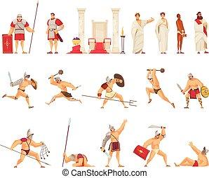 アイコン, ローマ, セット, 古代
