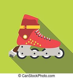 アイコン, ローラースケートをする, スタイル, 平ら