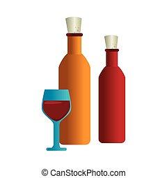 アイコン, ワイン, 隔離された, びん, カップ