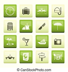 アイコン, 上に, 旅行, 緑の背景, 観光事業, 旅行