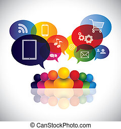 アイコン, 人々, ネットワーク, 社会, 媒体, ベクトル, infographic