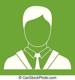 アイコン, 人, 緑ビジネス, スーツ