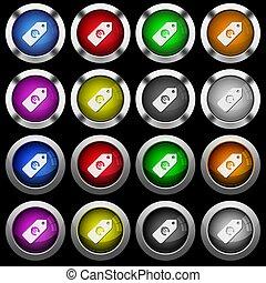 アイコン, 価格, ラベル, ボタン, 黒, グロッシー, 背景, 白, ラウンド, ユーロ