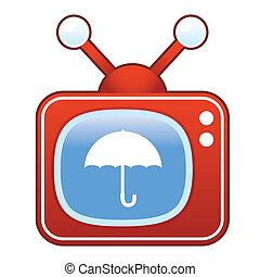 アイコン, 傘, テレビ, レトロ