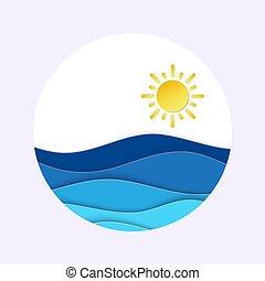 アイコン, 光景, waves., 日当たりが良い, 時間, 海, 層にされる, banner., 水, ラウンド, ペーパー, 技能, 夏, 3d, 朝, sunrise., 形。, 天候, 切口
