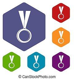 アイコン, 六角形, メダル, セット