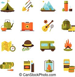 アイコン, 冒険, ハイキング, セット, キャンプ, 平ら