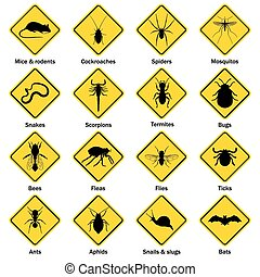 アイコン, 制御, 害虫, set., 昆虫