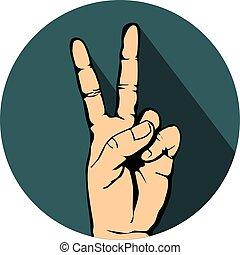 アイコン, 勝利, 手の 印