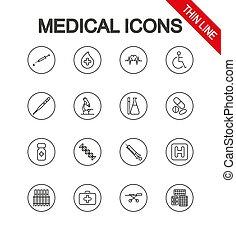 アイコン, 医学, editable, ライン。, 薄くなりなさい, vector., icon., 普遍的, set.