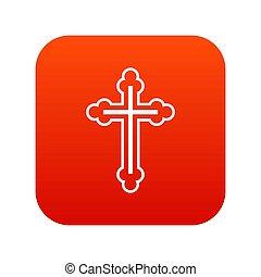 アイコン, 十字架像, 赤, デジタル