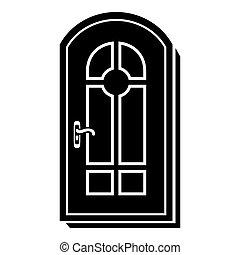 アイコン, 単純である, スタイル, ドア, アーチ形にされる