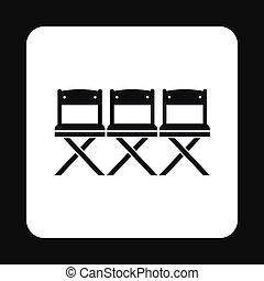 アイコン, 単純である, スタイル, 映画館, 席
