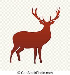 アイコン, 単純である, スタイル, 鹿