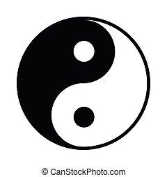 アイコン, 単純である, スタイル, ying yang