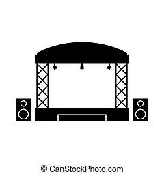 アイコン, 単純である, ステージ, デザイン, コンサート