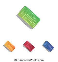 アイコン, 単純である, 印。, colorfull, アップリケ, 切符, set.