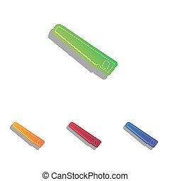 アイコン, 単純である, 印。, colorfull, アップリケ, 鋸, set.