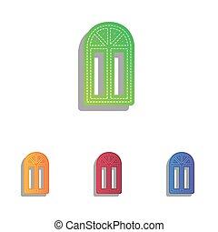 アイコン, 単純である, 印。, colorfull, 窓, アップリケ, set.