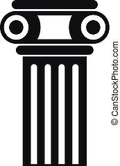 アイコン, 単純である, 柱, スタイル, 寺院
